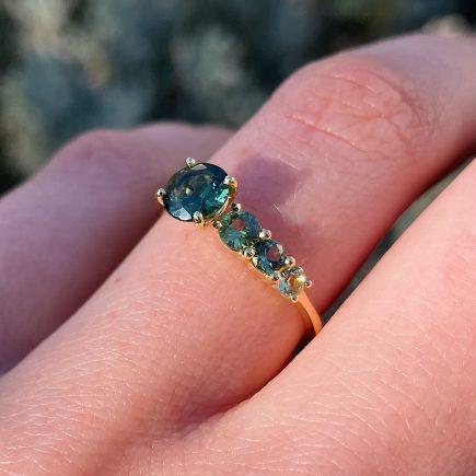 18ct Fairtrade Yellow Gold Asymmetric Green Sapphire Ring