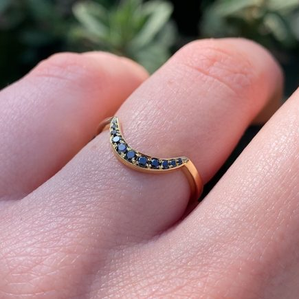 18ct Yellow Gold Crescent Ring with Black Diamonds