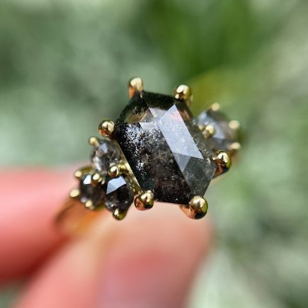 18ct Yellow Gold Dark Salt and Pepper Diamond Cluster Ring