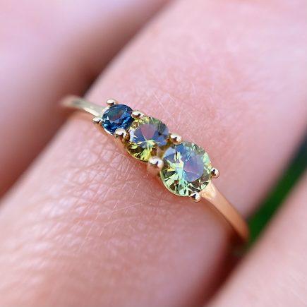 18ct Fairtrade Yellow Gold Triple Green Sapphire Ring