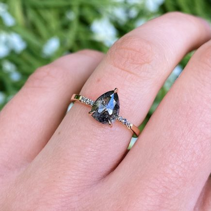 18ct Rose Gold and 0.94ct Pear-Shaped Salt and Pepper Diamond Engagement Ring