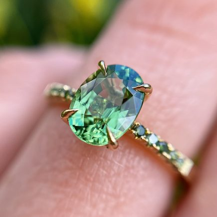 18ct Yellow Gold Oval Green Tourmaline with Green Diamond Shoulders
