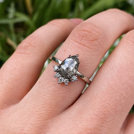 Platinum Ring with 1.02ct Pear Shape Salt and Pepper Diamond with White Claw-set Diamond Accent