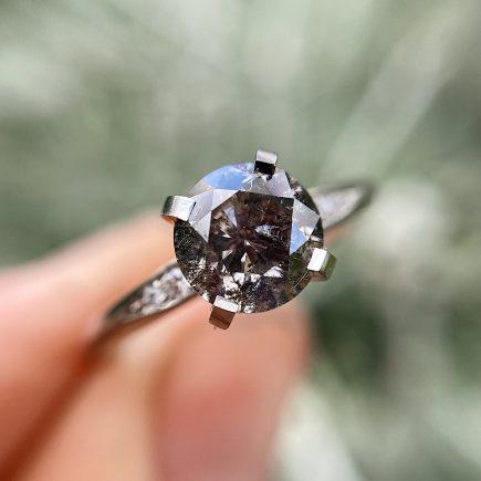 Platinum Mini Coco Ring with 1.11ct Salt and Pepper Diamond