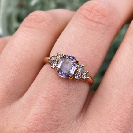 18ct Rose Gold Lilac Sapphire Ring with Pink Diamonds