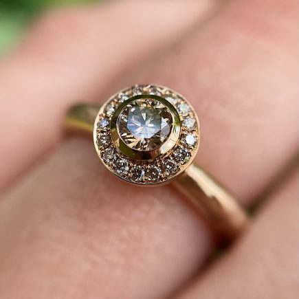 18ct Rose Gold Molten Halo Diamond Engagement Ring With Filigree Collet and Champagne Diamonds