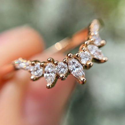 18ct Rose Gold Marquise and Round Diamond Tiara Ring