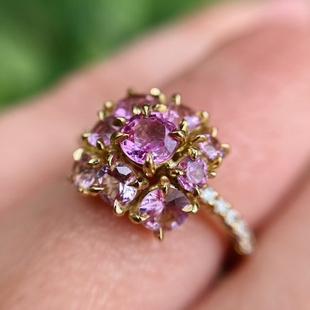 18ct Yellow Gold and Pink Sapphire Mini Cluster Ring