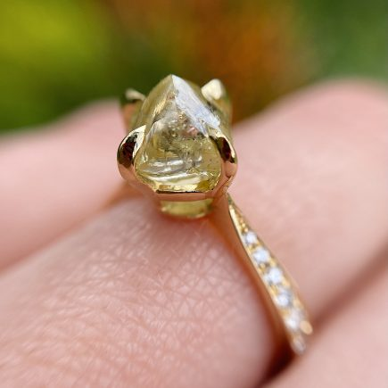 18ct Yellow Gold Rough Yellow Diamond Solitaire Ring with Pave Diamond Shoulders