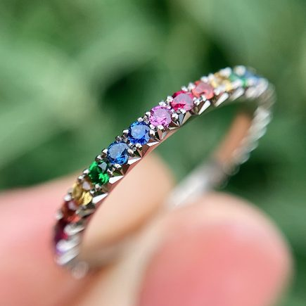 18ct White Gold French-cut Rainbow Eternity Ring