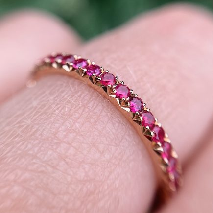 18ct Rose Gold French-cut Ruby Eternity Ring