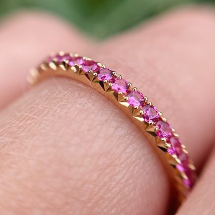 18ct Yellow Gold French-cut Pink Sapphire Eternity Ring