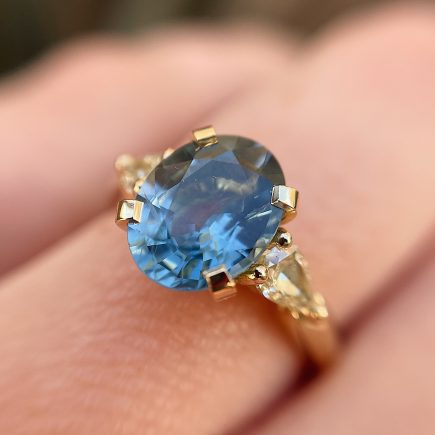 18ct Yellow Gold Sapphire Coco Trilogy Ring with Yellow Diamond Shoulders