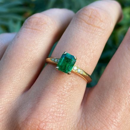 18ct Yellow Gold and 1.15ct Octagon Emerald Coco Ring