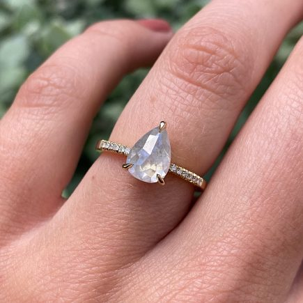 18ct Yellow Gold and 1.53ct Pear Shape Moonfire Diamond Ring