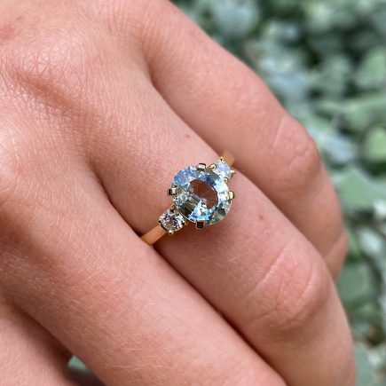 18ct Yellow Gold Sage Green Sapphire and Diamond Trilogy Ring