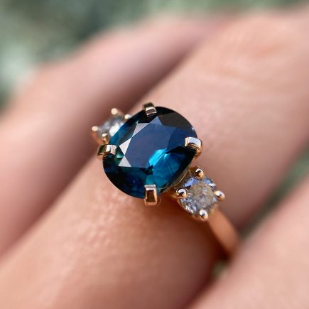 18ct Rose Gold Teal Sapphire and Salt and Pepper Diamond Trilogy Ring